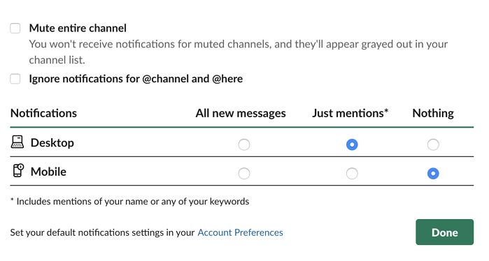 customize notification preferences on Slack
