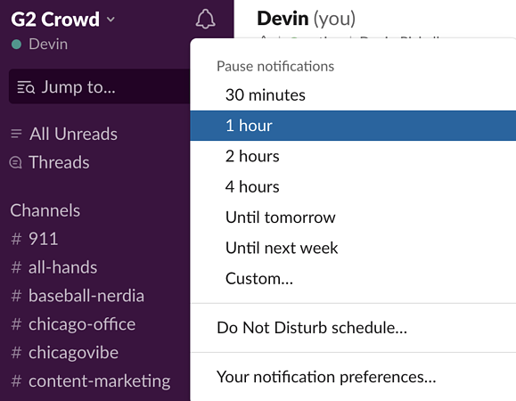 turn on do not disturb on Slack