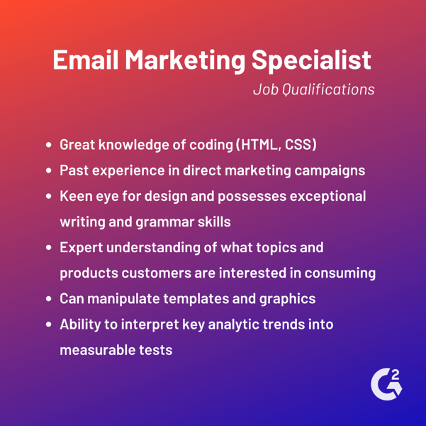 email marketing specialist job qualifications