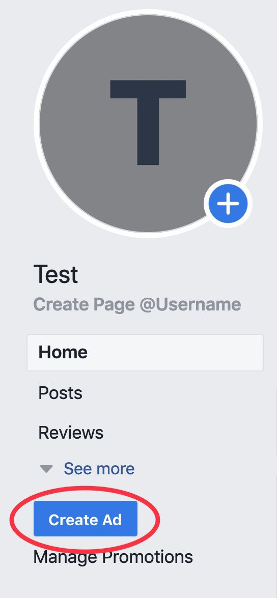 screenshot of a facebook business page call to action circled in red