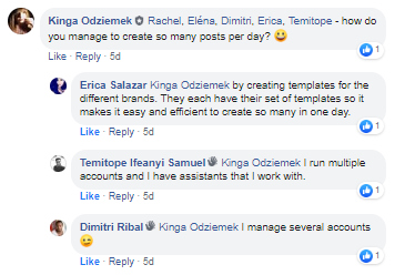 facebook group interactions