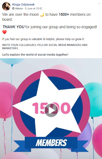 facebook group thank you post