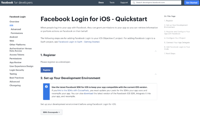 Facebook login iOS SDK
