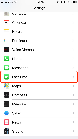 FaceTime in iPhone Settings