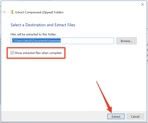 click extract to finalize unzip