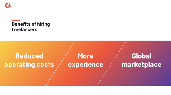 Hiring freelancers cuts down operating costs, provides access to talent with much more experience, and eliminates regional constraints for the pool of talent.