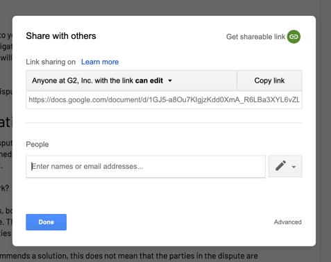 google doc sharing