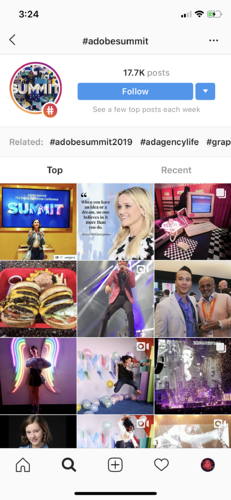 hashtags on the instagram explore page
