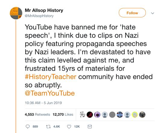 youtube deplatforming