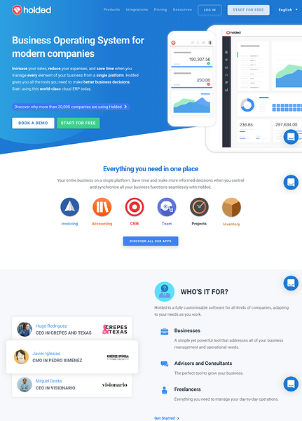 holded landing page