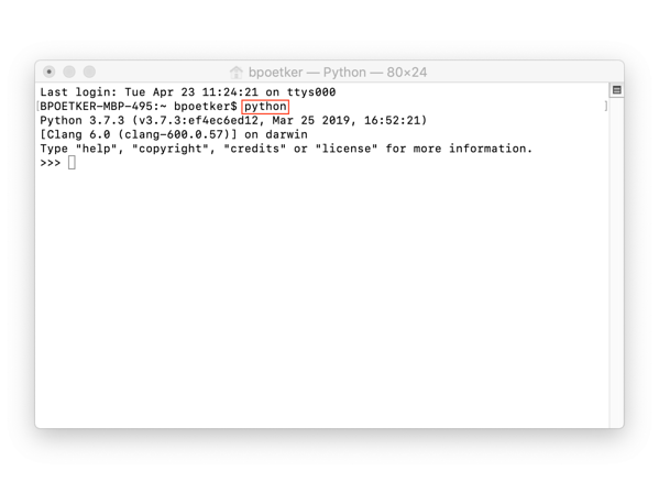 code in python on Mac print command