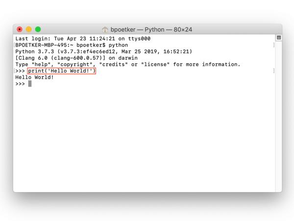 code in python on Mac print response