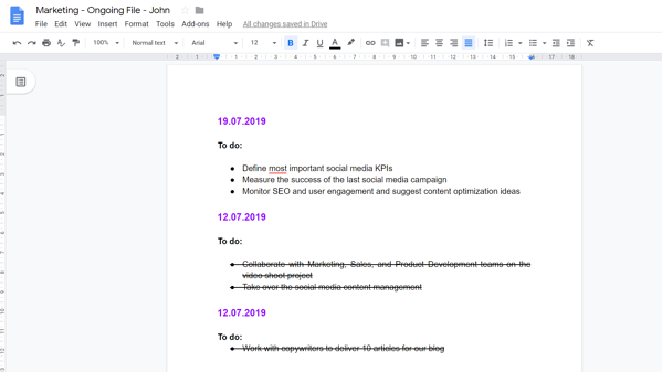 Google Doc one-on-one example