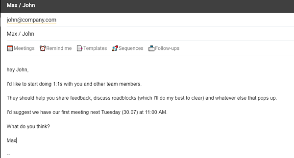 one-on-one email example