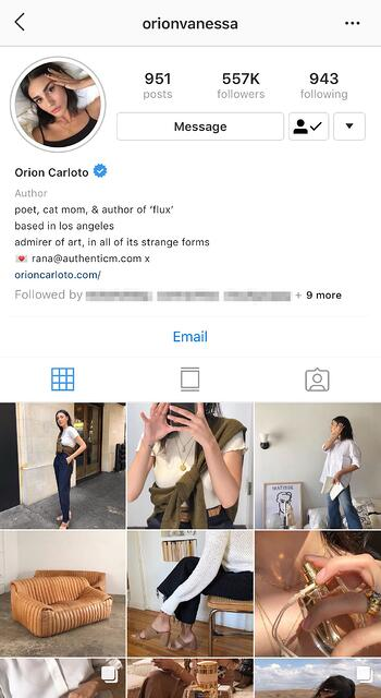 instagram influencer profile