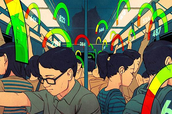 Chinese commuters with social credit scores