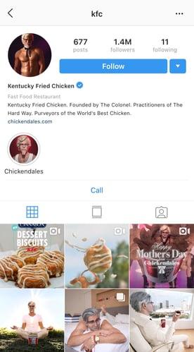 kfc instagram account