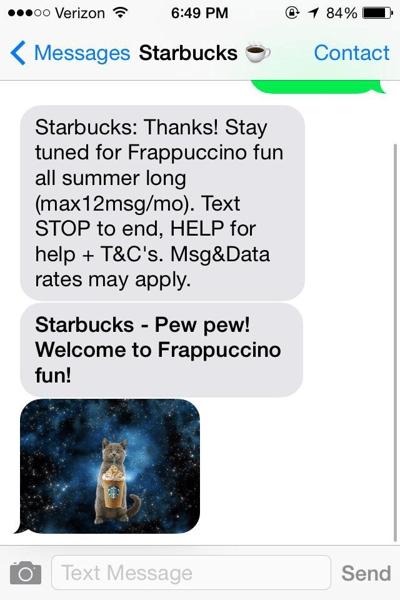 starbucks sms