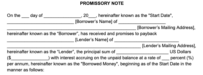 lender and borrower information promissory note
