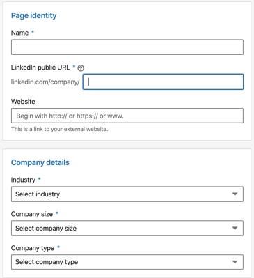 fill out company info to create LinkedIn business page