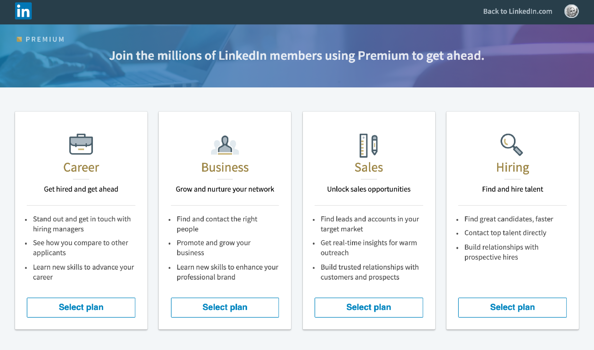 linkedin premium options