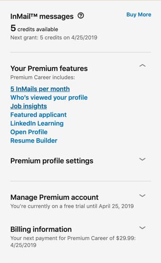 linkedin premium page sidebar
