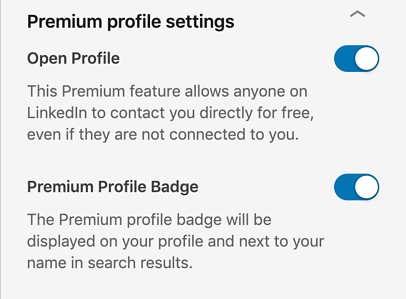 linkedin premium profile settings