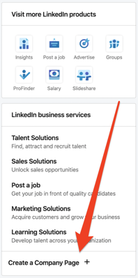 click create a company page in LinkedIn