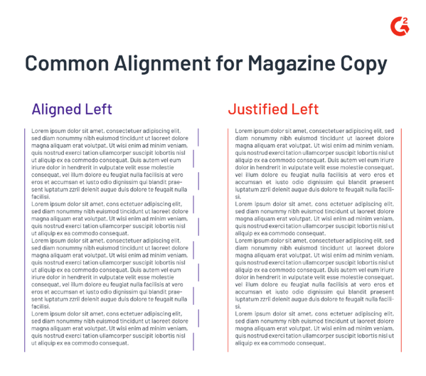 magazine copy alignment