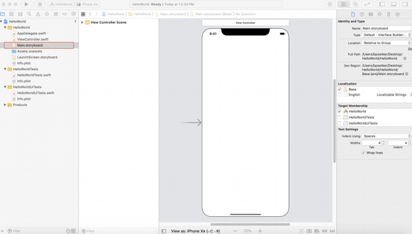 iPhone user interface in Xcode