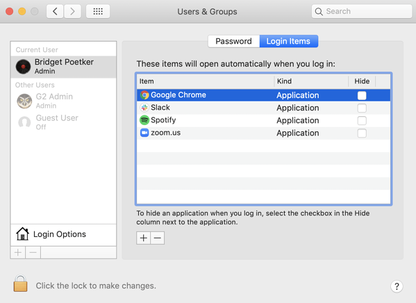 manage startup programs on Mac