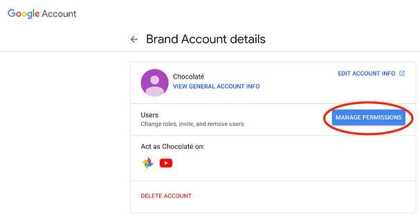 manage youtube brand account permissions