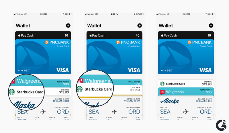 Screenshots of how to reorder cards in Apple Wallet]