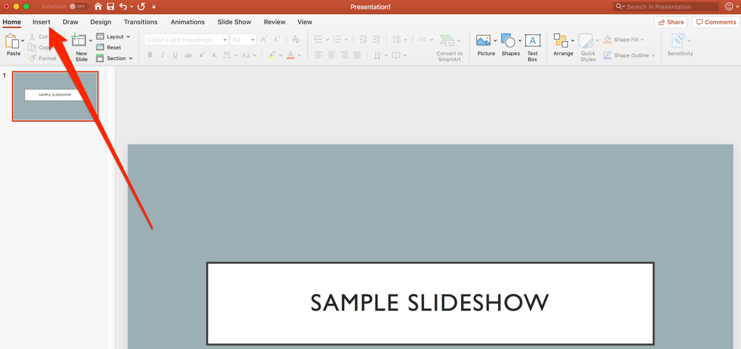 insert tab in powerpoint