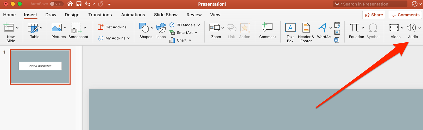 select audio in powerpoint
