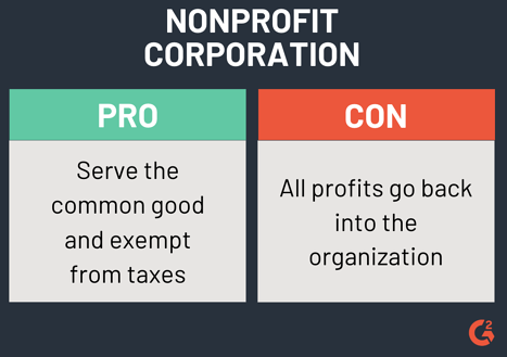 pros and cons of a nonprofit corporation