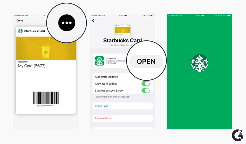 Screenshots of how to open other apps Apple Wallet