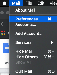 open preferences on Apple Mail
