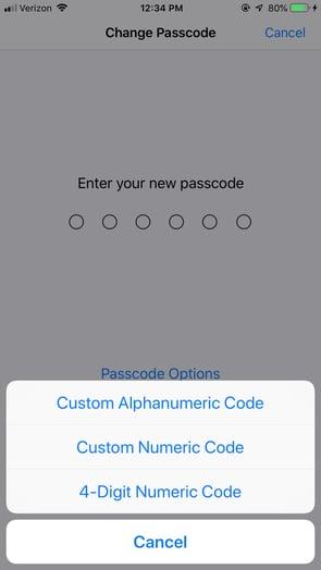 iPhone Passcode Type Options