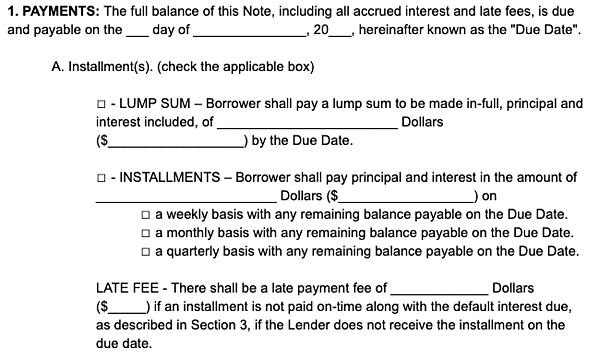 payments promissory note