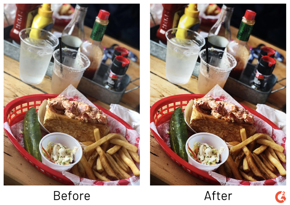 food photography editing before and after