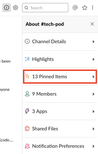 pinned items in Slack