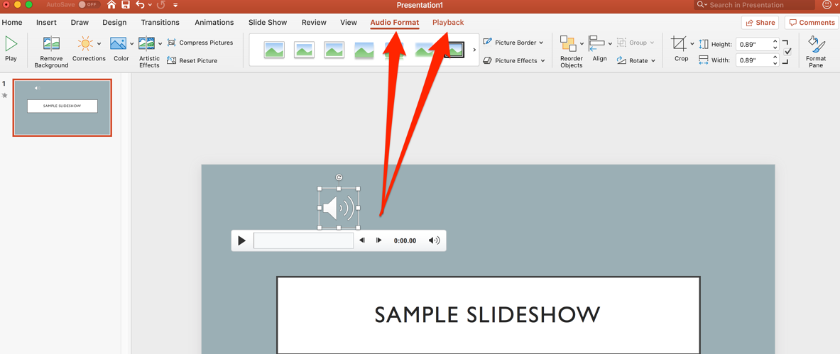 audio format and playback tab in powerpoint