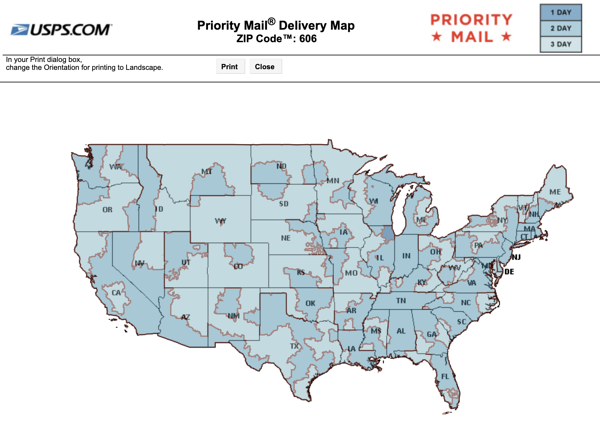 priority mail delivery map