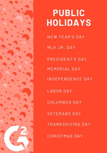 public holidays in calendar year