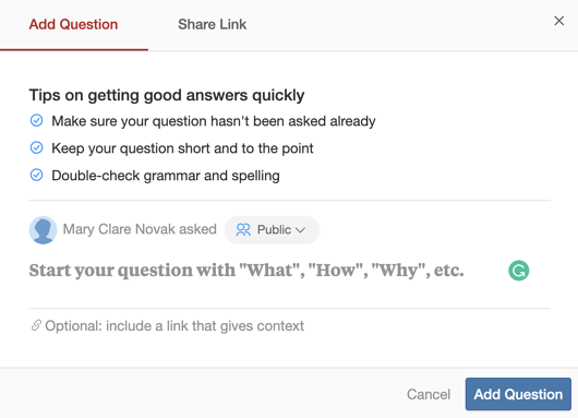 asking a question on quora