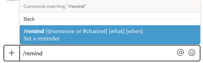 setting reminders on Slack
