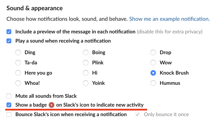 remove notification badges on Slack