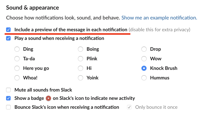remove notification previews on Slack
