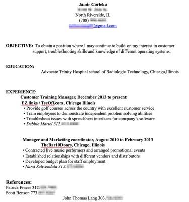 resume before customization